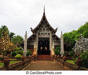 Lanna style temple - Wat Lok Moli in Thai Lanna style,...