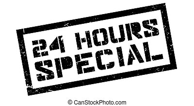 24 hours special rubber stamp on white. Print, impress,...