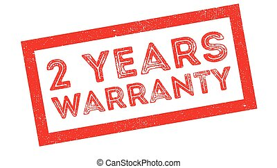 2 years warranty rubber stamp on white. Print, impress,...