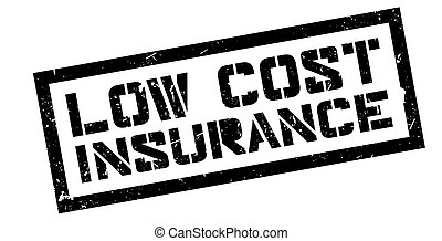 Low Cost Insurance rubber stamp on white. Print, impress,...
