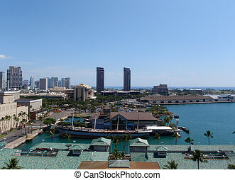 Downtown Honolulu and Harbor seen from the above taken on...