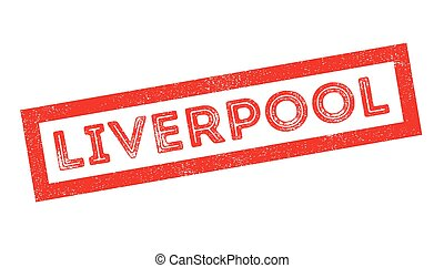 Liverpool rubber stamp on white. Print, impress, overprint.