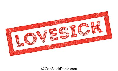 Lovesick rubber stamp on white. Print, impress, overprint.