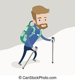 Young mountaneer climbing a snowy ridge - A hipster...