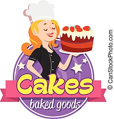 Vintage logo. Smiling woman in a cook cap with cake on white...