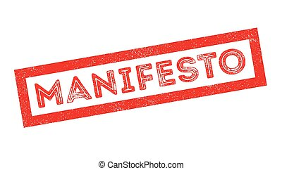 Manifesto rubber stamp on white. Print, impress, overprint.