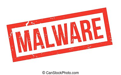 Malware rubber stamp on white. Print, impress, overprint.