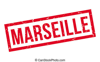 Marseille rubber stamp on white. Print, impress, overprint.