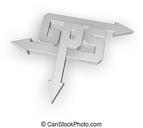 gps - letters gps with arrows on white background - 3d...