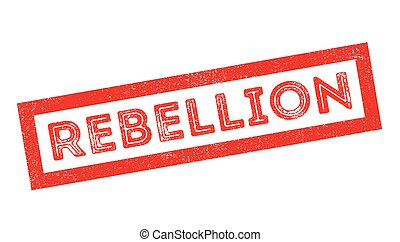 Rebellion rubber stamp on white. Print, impress, overprint.
