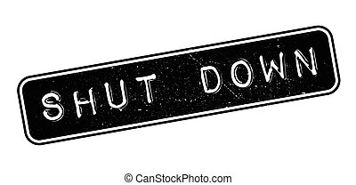 Shut Down rubber stamp on white. Print, impress, overprint.