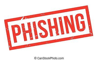 Phishing rubber stamp on white. Print, impress, overprint.