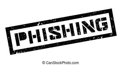 Phishing rubber stamp on white. Print, impress, overprint.