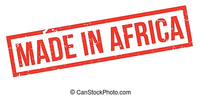 Made in Africa rubber stamp on white. Print, impress,...