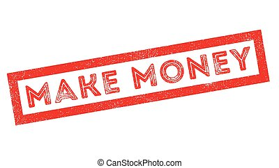 Make Money rubber stamp on white. Print, impress, overprint.