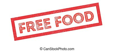 Free Food rubber stamp on white. Print, impress, overprint.