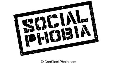 Social Phobia rubber stamp on white. Print, impress,...