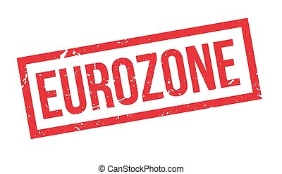 Eurozone rubber stamp on white. Print, impress, overprint.