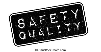 Safety Quality rubber stamp on white Print, impress,...
