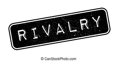 Rivalry rubber stamp on white. Print, impress, overprint.