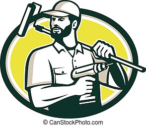 Handyman Bearded Drill Paintroller Oval Retro - Illustration...