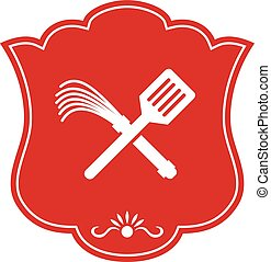 Spatula Flogger Whip Crossed Shield Retro - Illustration of...