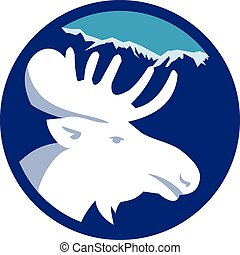 Moose Head Side View Circle Retro