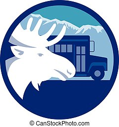 Moose Head School Bus Circle Retro - Illustration of a moose...