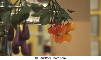 Artificial branches of sweet cherry. Close-up - Artificial...