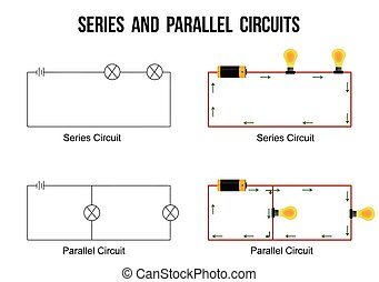 Series and parallel circuits on white background (Helpful...