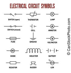 Electrical circuit symbols on white background (Helpful for...