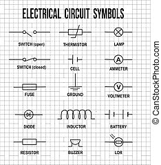 Electrical circuit symbols on on math paper texture...