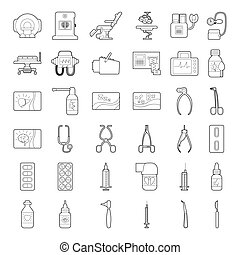 Medical tools equipment icons set, outline style - Medical...
