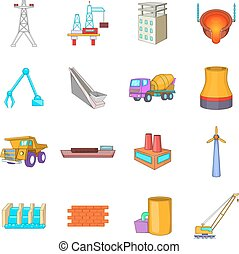 Industry icons set, cartoon style - Idustry icons set....