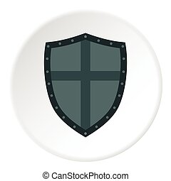 Shield with cross icon, flat style - Shield with cross icon....