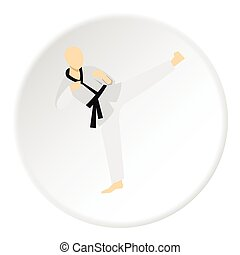 Karate fighter icon, flat style - Karate fighter icon. Flat...