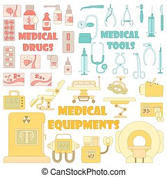 Medical tools equipment icons set, cartoon style - Medical...
