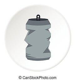 Crumpled aluminum can icon, flat style - Crumpled aluminum...