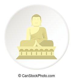 Sitting Buddha icon, flat style - Sitting Buddha icon. Flat...