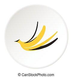 Banana peel icon, flat style - Banana peel icon. Flat...