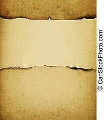 Vintage burned paper background, with space for text.