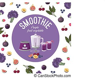 Smoothies. Purple vegetables. Vector illustration made in a...