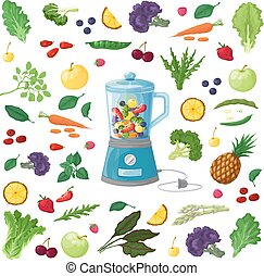 Vector Illustration of fruits, vegetables and herbs