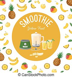 Smoothies. Fruit yellow. Vector illustration made in a...