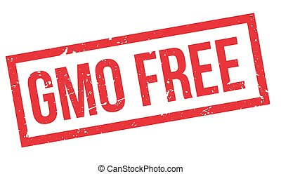 GMO Free rubber stamp on white. Print, impress, overprint.