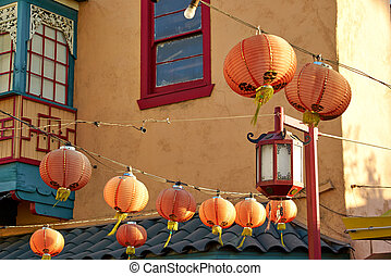 Beautiful red Chinese lanterns in Chinatown of Los Angeles