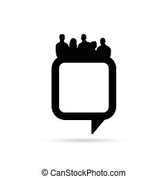 people silhouette with speech bubble in black illustration