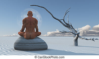 Man Meditates on stone in white sands
