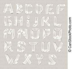 letters of the alphabet of adhesive transparent tape