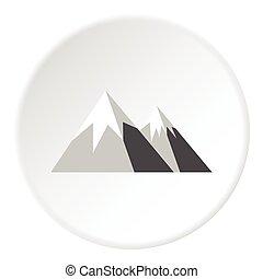 Snowy mountains icon, flat style - Snowy mountains icon....